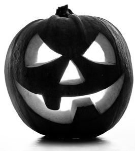 Black & white image of a pumpkin.