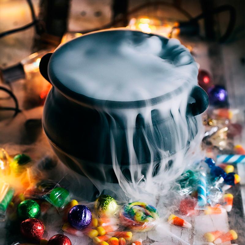 Cauldron with Dry Ice Fog